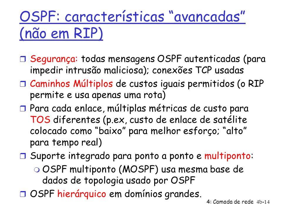 4: Camada de rede4b-14 OSPF: características avancadas (não em RIP) r Segurança: todas mensagens OSPF autenticadas (para impedir intrusão maliciosa);