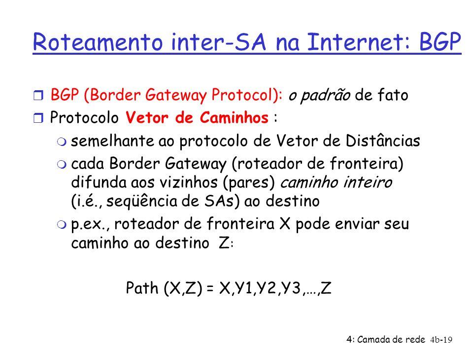 4: Camada de rede4b-19 Roteamento inter-SA na Internet: BGP r BGP (Border Gateway Protocol): o padrão de fato r Protocolo Vetor de Caminhos : m semelh