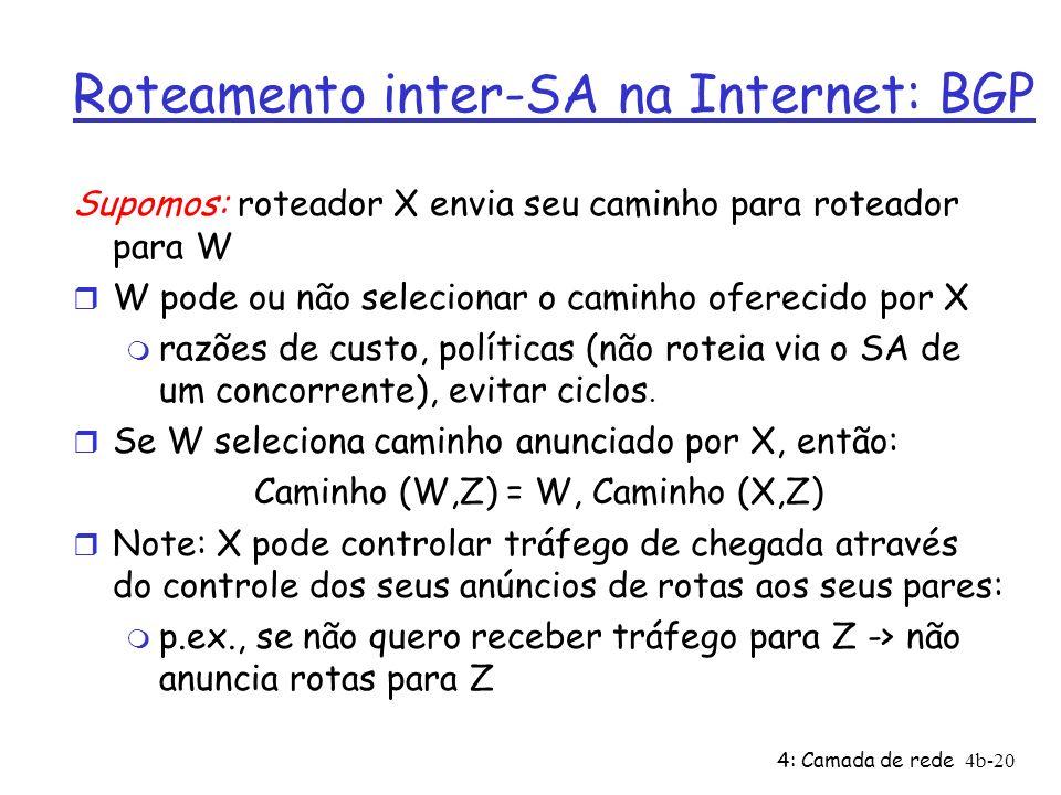 4: Camada de rede4b-20 Roteamento inter-SA na Internet: BGP Supomos: roteador X envia seu caminho para roteador para W r W pode ou não selecionar o ca