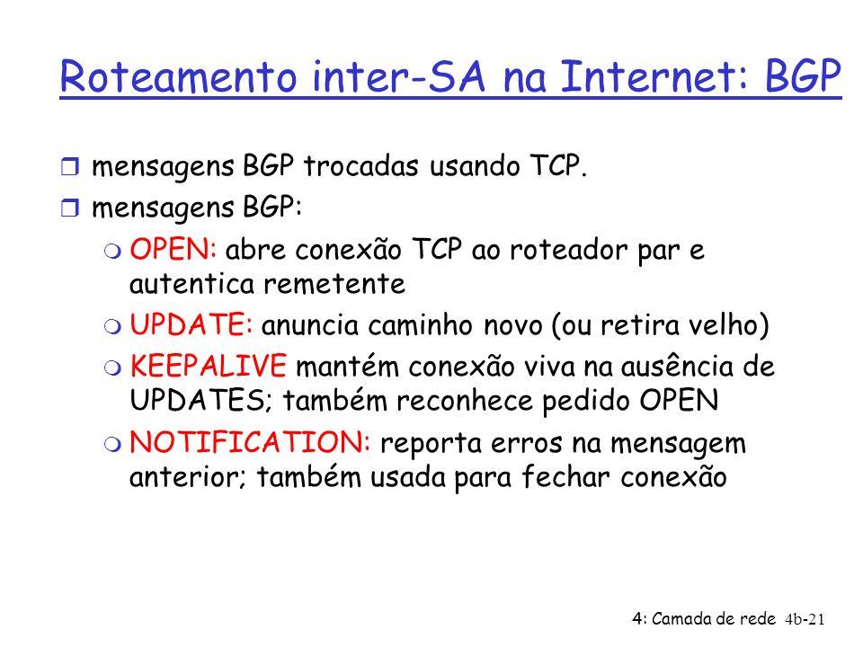 4: Camada de rede4b-21 Roteamento inter-SA na Internet: BGP r mensagens BGP trocadas usando TCP. r mensagens BGP: m OPEN: abre conexão TCP ao roteador