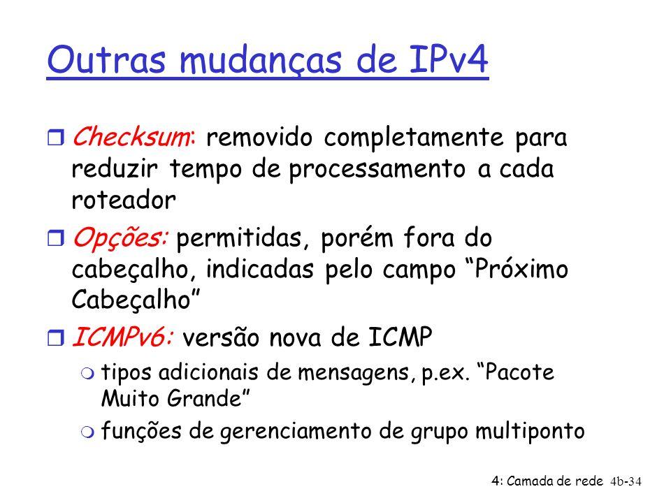 4: Camada de rede4b-34 Outras mudanças de IPv4 r Checksum: removido completamente para reduzir tempo de processamento a cada roteador r Opções: permit