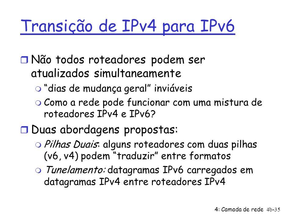 4: Camada de rede4b-35 Transição de IPv4 para IPv6 r Não todos roteadores podem ser atualizados simultaneamente m dias de mudança geral inviáveis m Co