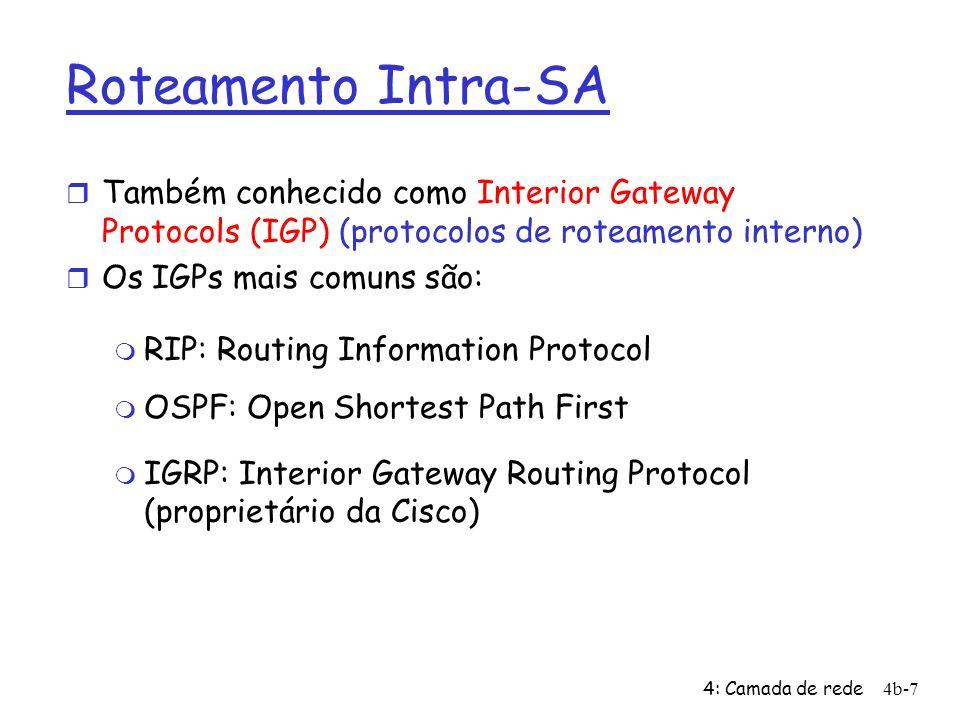 4: Camada de rede4b-7 Roteamento Intra-SA r Também conhecido como Interior Gateway Protocols (IGP) (protocolos de roteamento interno) r Os IGPs mais c