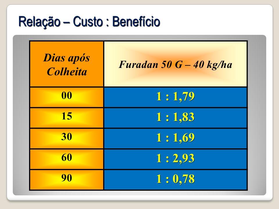 Dias após Colheita Furadan 50 G – 40 kg/ha 00 1 : 1,79 15 1 : 1,83 30 1 : 1,69 60 1 : 2,93 90 1 : 0,78 Relação – Custo : Benefício
