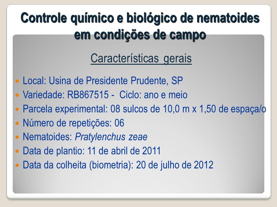 Características gerais Local: Usina de Presidente Prudente, SP Variedade: RB867515 - Ciclo: ano e meio Parcela experimental: 08 sulcos de 10,0 m x 1,5