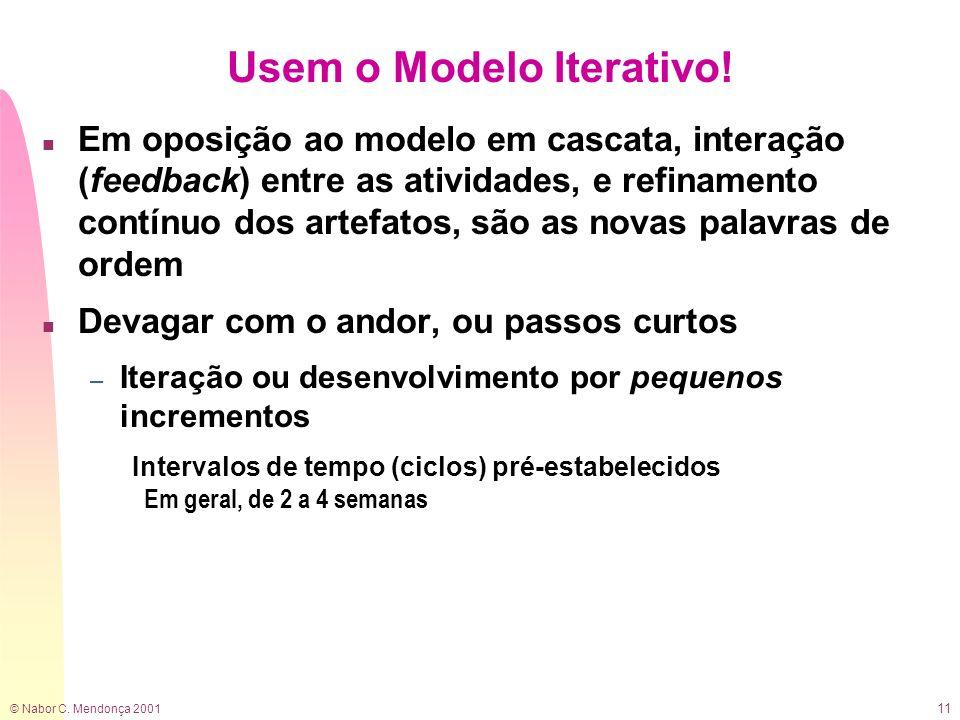 © Nabor C. Mendonça 2001 11 Usem o Modelo Iterativo! n Em oposição ao modelo em cascata, interação (feedback) entre as atividades, e refinamento contí