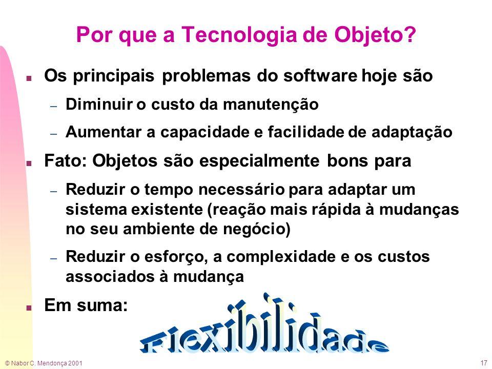 © Nabor C. Mendonça 2001 17 Por que a Tecnologia de Objeto? n Os principais problemas do software hoje são – Diminuir o custo da manutenção – Aumentar