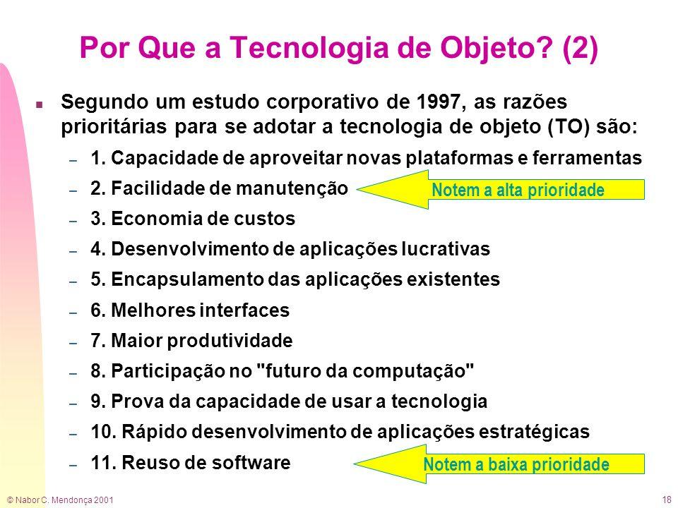 © Nabor C. Mendonça 2001 18 n Segundo um estudo corporativo de 1997, as razões prioritárias para se adotar a tecnologia de objeto (TO) são: – 1. Capac