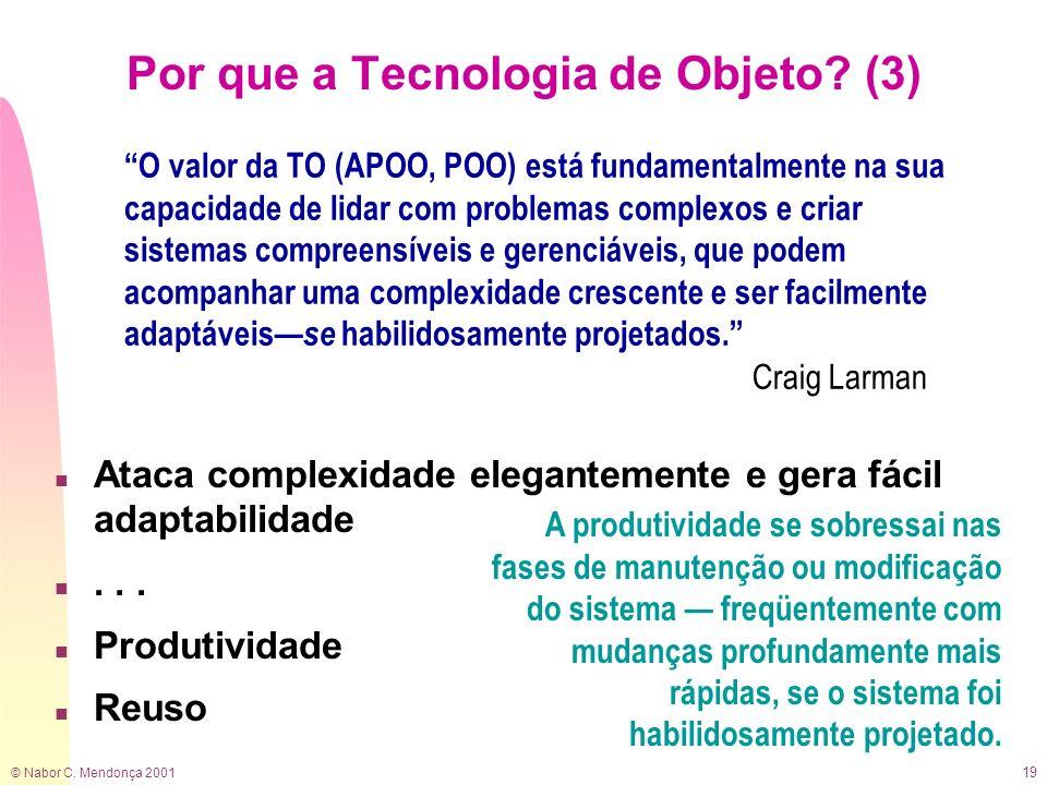 © Nabor C. Mendonça 2001 19 n Ataca complexidade elegantemente e gera fácil adaptabilidade n... n Produtividade n Reuso A produtividade se sobressai n