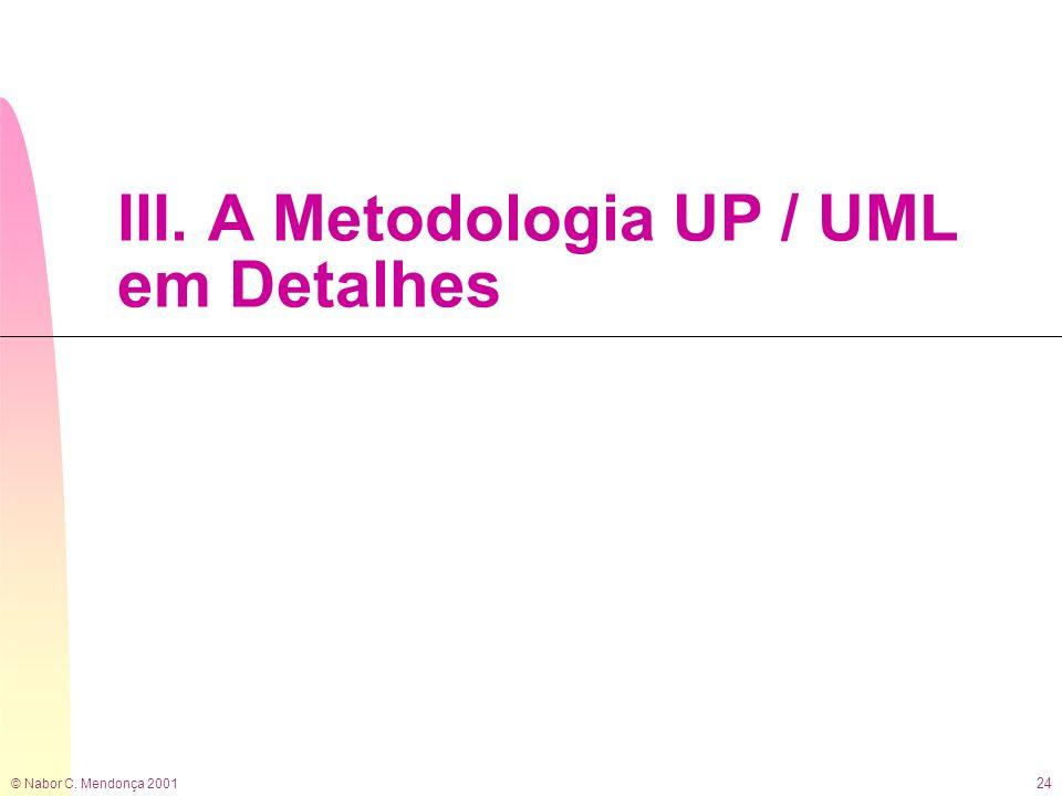 © Nabor C. Mendonça 2001 24 III. A Metodologia UP / UML em Detalhes