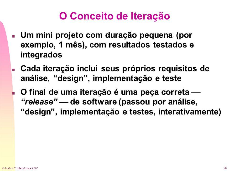 © Nabor C. Mendonça 2001 26 O Conceito de Iteração n Um mini projeto com duração pequena (por exemplo, 1 mês), com resultados testados e integrados n
