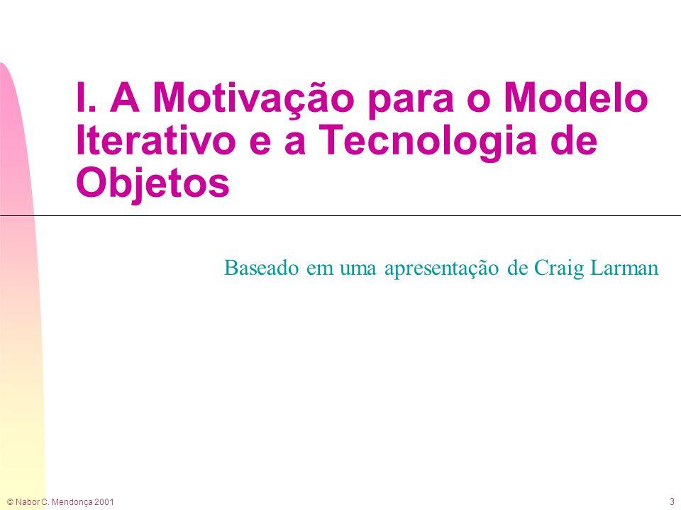 © Nabor C. Mendonça 2001 3 I. A Motivação para o Modelo Iterativo e a Tecnologia de Objetos Baseado em uma apresentação de Craig Larman