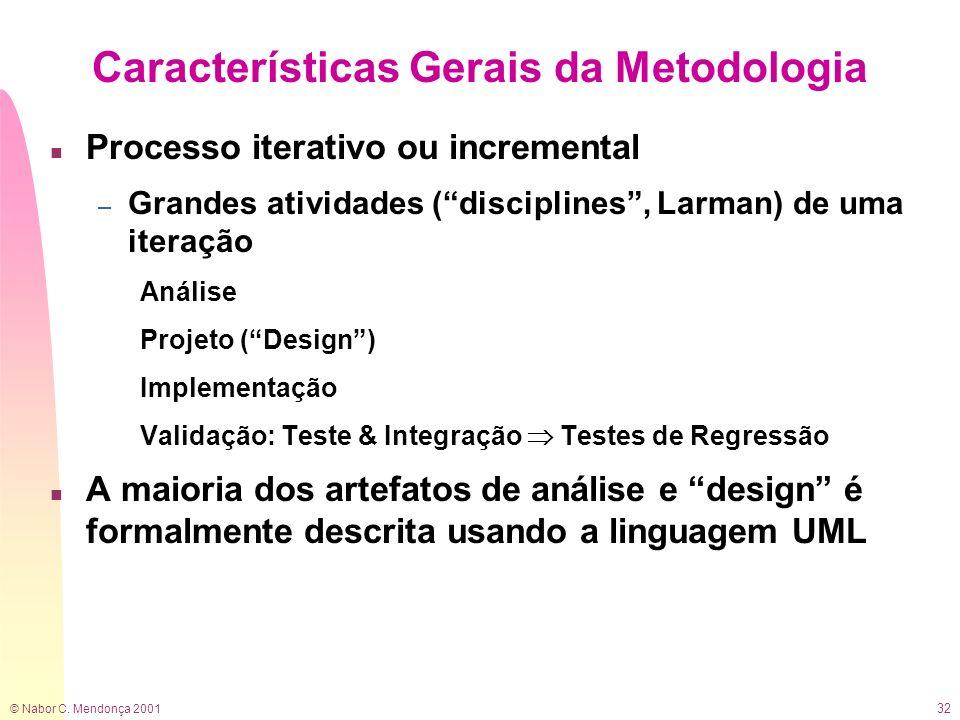 © Nabor C. Mendonça 2001 32 Características Gerais da Metodologia n Processo iterativo ou incremental – Grandes atividades (disciplines, Larman) de um