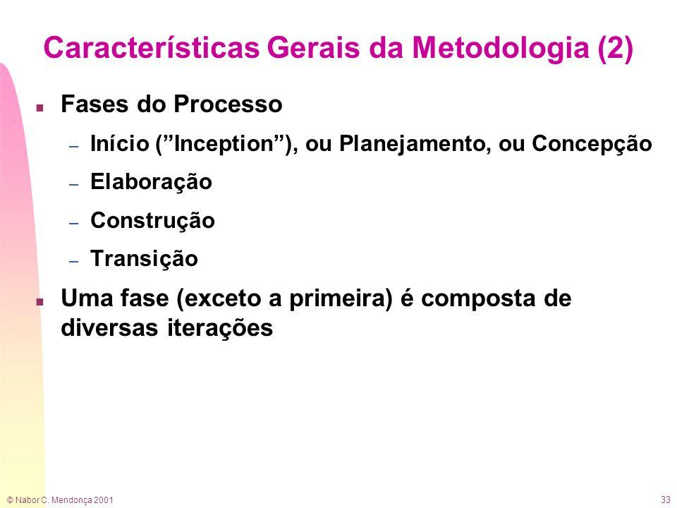© Nabor C. Mendonça 2001 33 Características Gerais da Metodologia (2) n Fases do Processo – Início (Inception), ou Planejamento, ou Concepção – Elabor