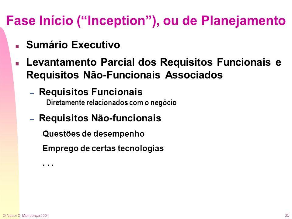 © Nabor C. Mendonça 2001 35 Fase Início (Inception), ou de Planejamento n Sumário Executivo n Levantamento Parcial dos Requisitos Funcionais e Requisi