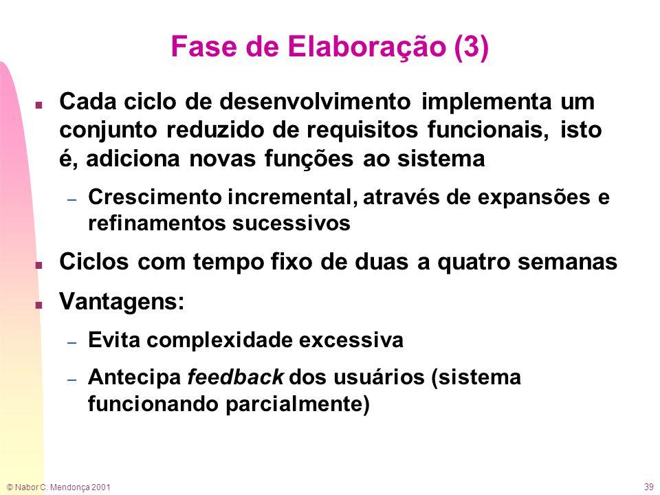 © Nabor C. Mendonça 2001 39 Fase de Elaboração (3) n Cada ciclo de desenvolvimento implementa um conjunto reduzido de requisitos funcionais, isto é, a
