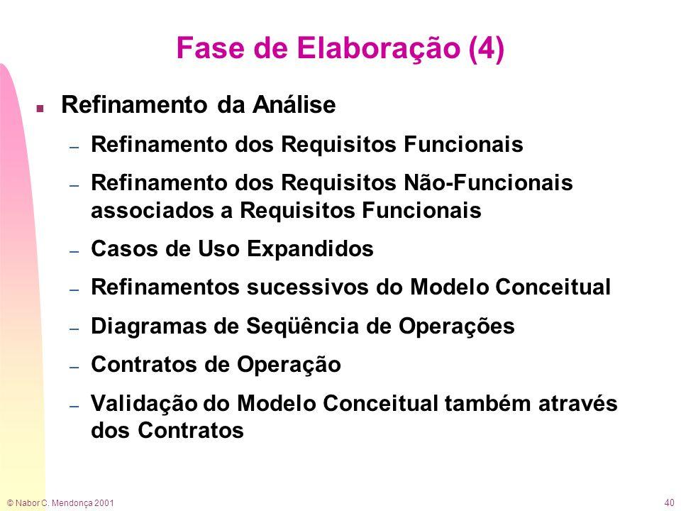© Nabor C. Mendonça 2001 40 Fase de Elaboração (4) n Refinamento da Análise – Refinamento dos Requisitos Funcionais – Refinamento dos Requisitos Não-F
