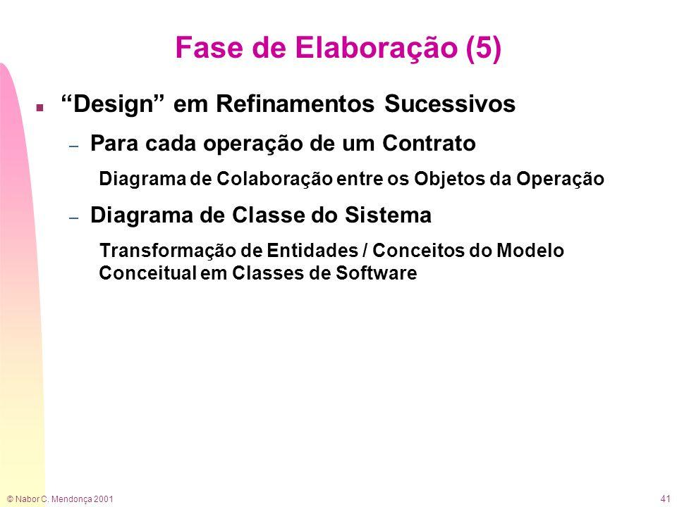 © Nabor C. Mendonça 2001 41 Fase de Elaboração (5) n Design em Refinamentos Sucessivos – Para cada operação de um Contrato Diagrama de Colaboração ent