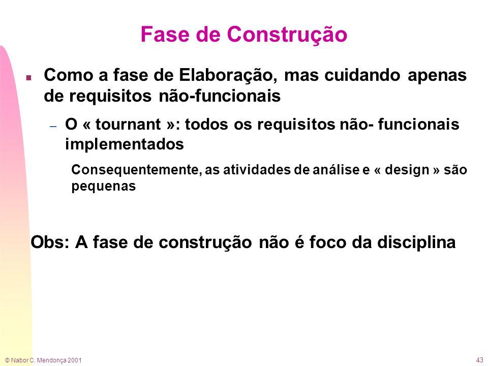 © Nabor C. Mendonça 2001 43 Fase de Construção n Como a fase de Elaboração, mas cuidando apenas de requisitos não-funcionais – O « tournant »: todos o