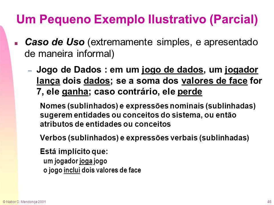 © Nabor C. Mendonça 2001 46 Um Pequeno Exemplo Ilustrativo (Parcial) n Caso de Uso (extremamente simples, e apresentado de maneira informal) – Jogo de