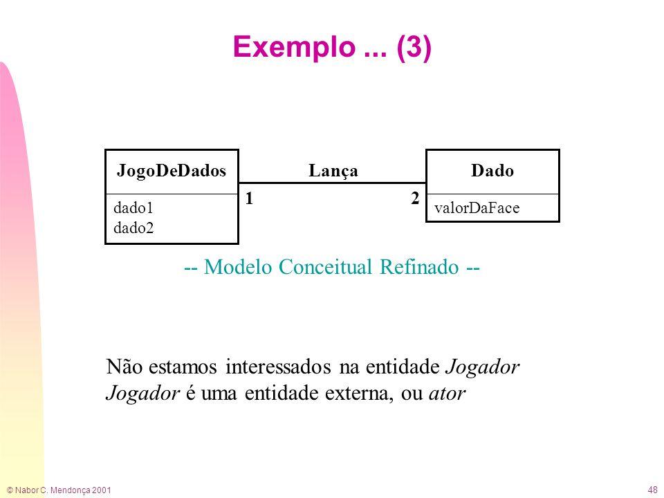 © Nabor C. Mendonça 2001 48 Exemplo... (3) -- Modelo Conceitual Refinado -- JogoDeDadosDado 21 Lança Não estamos interessados na entidade Jogador Joga