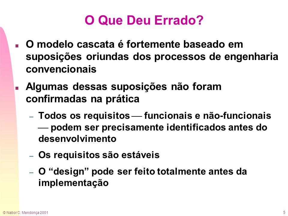 © Nabor C. Mendonça 2001 5 O Que Deu Errado? n O modelo cascata é fortemente baseado em suposições oriundas dos processos de engenharia convencionais
