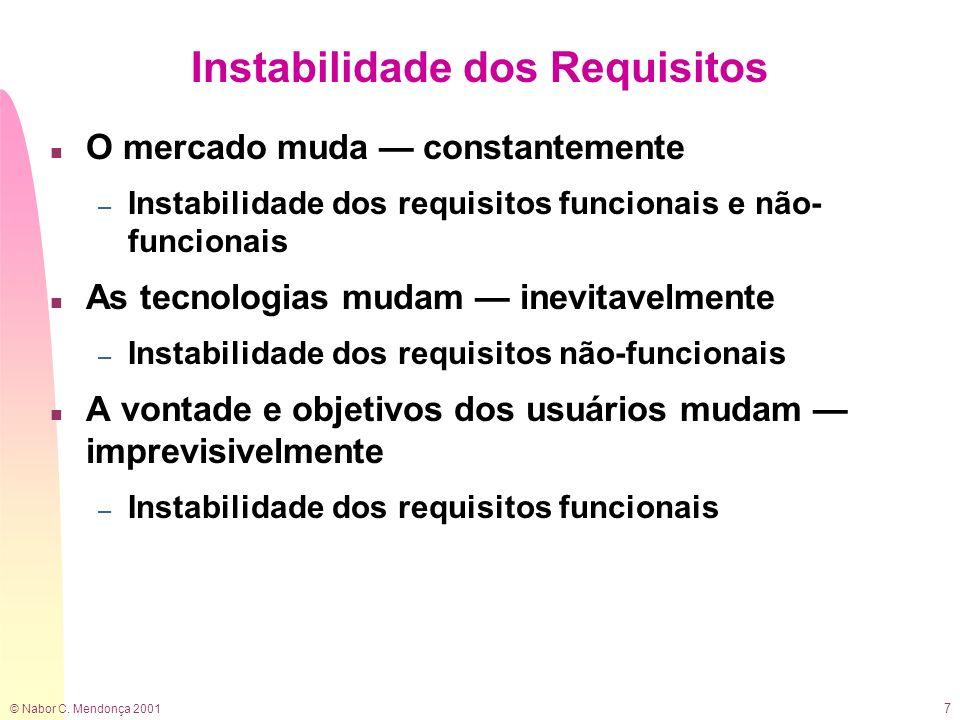 © Nabor C. Mendonça 2001 7 Instabilidade dos Requisitos n O mercado muda constantemente – Instabilidade dos requisitos funcionais e não- funcionais n