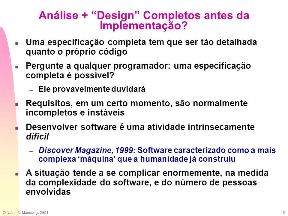 © Nabor C. Mendonça 2001 8 Análise + Design Completos antes da Implementação? n Uma especificação completa tem que ser tão detalhada quanto o próprio
