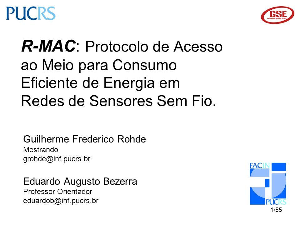 22/55 Proposta de Protocolo R-MAC Máquina de estados da camada Física 10111001 Registradores de configuração 10010011