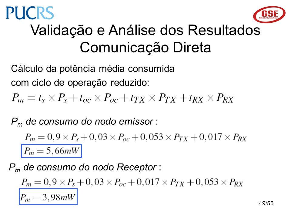 49/55 Validação e Análise dos Resultados Comunicação Direta P m de consumo do nodo emissor : P m de consumo do nodo Receptor : Cálculo da potência méd