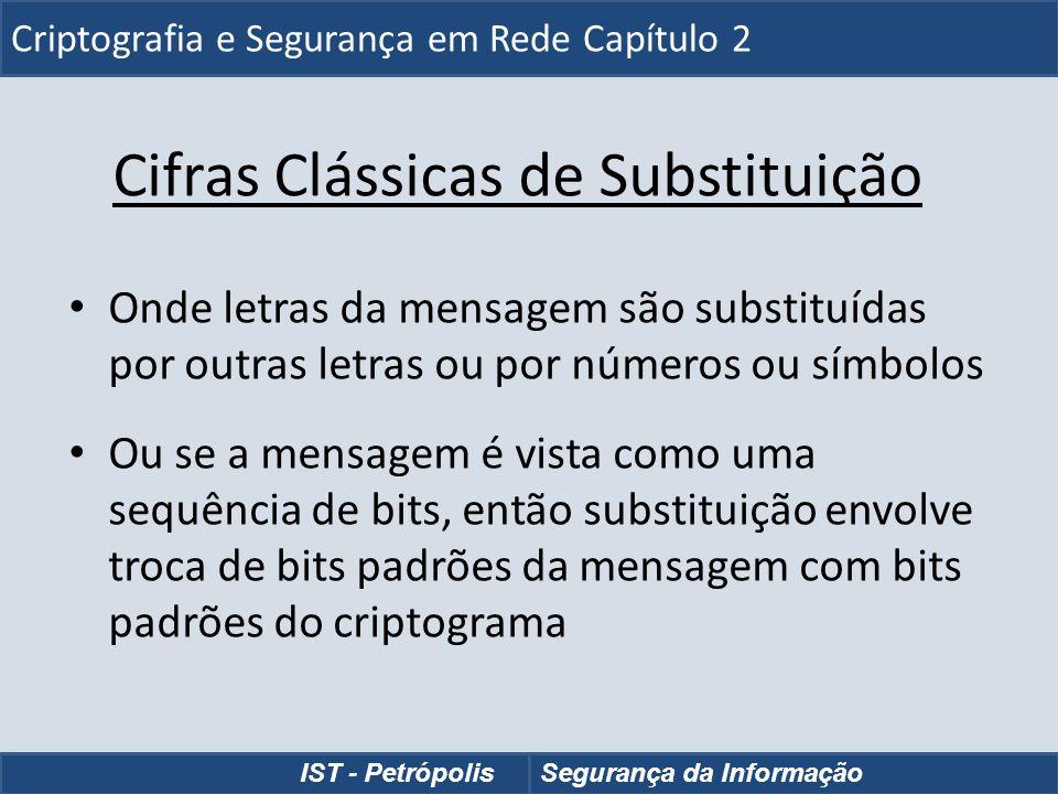 Cifras Clássicas de Substituição Onde letras da mensagem são substituídas por outras letras ou por números ou símbolos Ou se a mensagem é vista como u