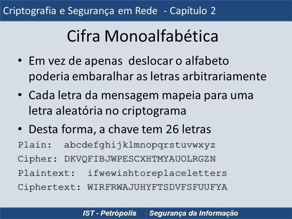 Cifra Monoalfabética Em vez de apenas deslocar o alfabeto poderia embaralhar as letras arbitrariamente Cada letra da mensagem mapeia para uma letra al