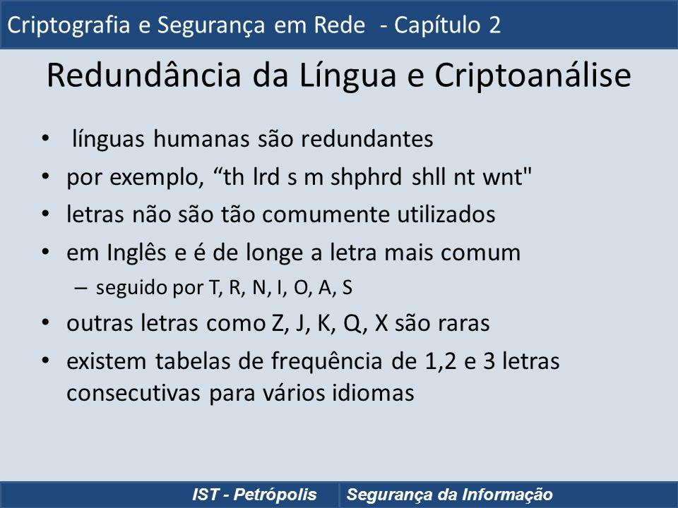 Redundância da Língua e Criptoanálise línguas humanas são redundantes por exemplo, th lrd s m shphrd shll nt wnt