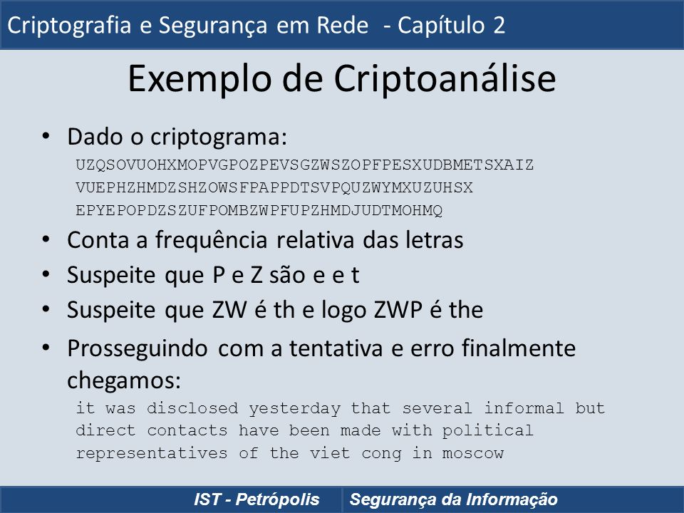 Exemplo de Criptoanálise Dado o criptograma: UZQSOVUOHXMOPVGPOZPEVSGZWSZOPFPESXUDBMETSXAIZ VUEPHZHMDZSHZOWSFPAPPDTSVPQUZWYMXUZUHSX EPYEPOPDZSZUFPOMBZW