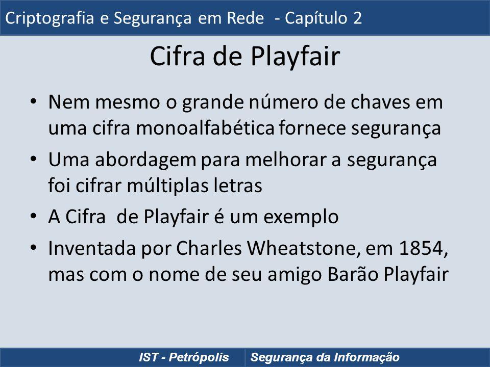 Cifra de Playfair Nem mesmo o grande número de chaves em uma cifra monoalfabética fornece segurança Uma abordagem para melhorar a segurança foi cifrar