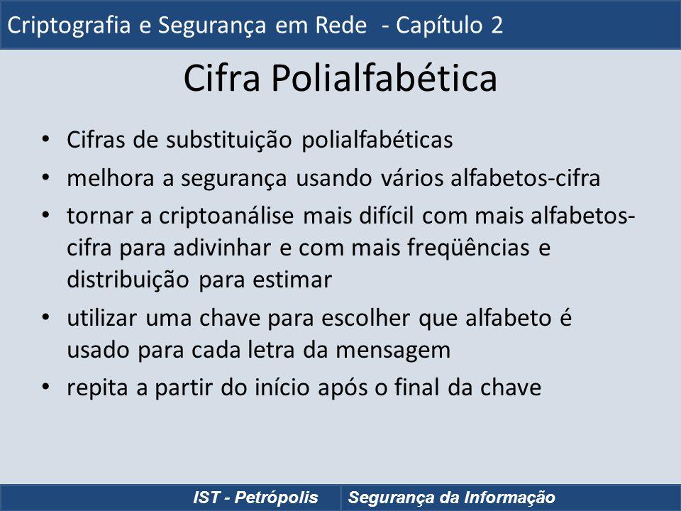 Cifra Polialfabética Cifras de substituição polialfabéticas melhora a segurança usando vários alfabetos-cifra tornar a criptoanálise mais difícil com