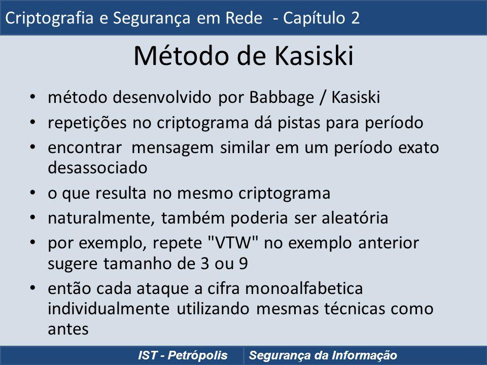 Método de Kasiski método desenvolvido por Babbage / Kasiski repetições no criptograma dá pistas para período encontrar mensagem similar em um período