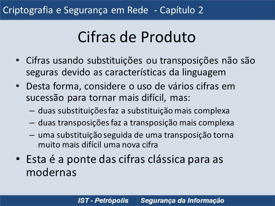 Cifras de Produto Cifras usando substituições ou transposições não são seguras devido as características da linguagem Desta forma, considere o uso de