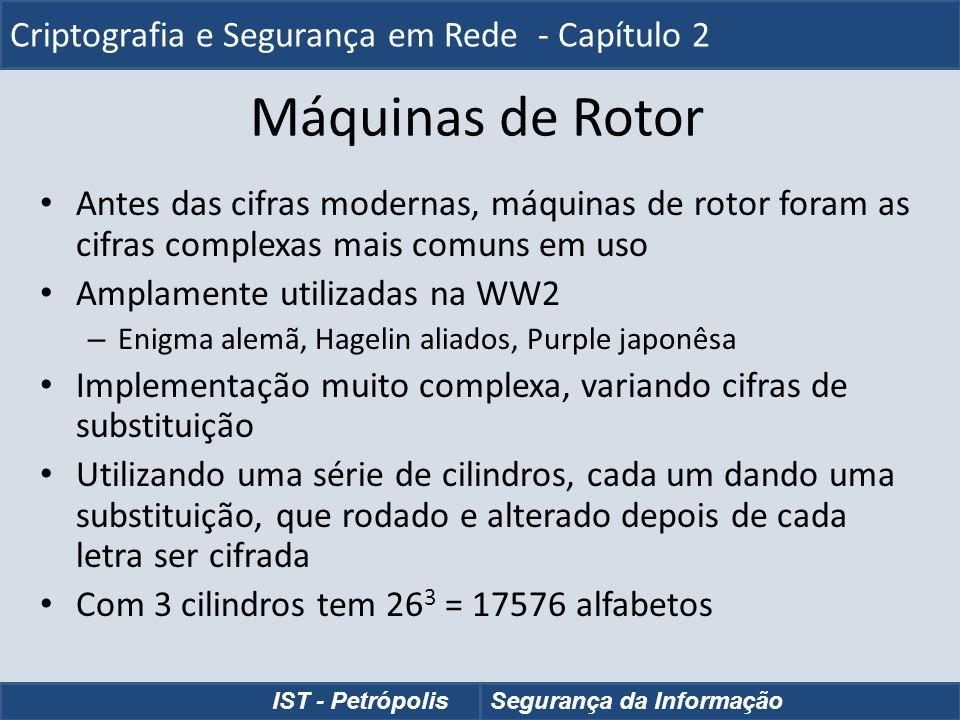 Máquinas de Rotor Antes das cifras modernas, máquinas de rotor foram as cifras complexas mais comuns em uso Amplamente utilizadas na WW2 – Enigma alem