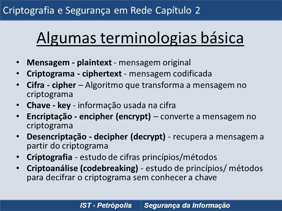 Algumas terminologias básica Mensagem - plaintext - mensagem original Criptograma - ciphertext - mensagem codificada Cifra - cipher – Algoritmo que tr