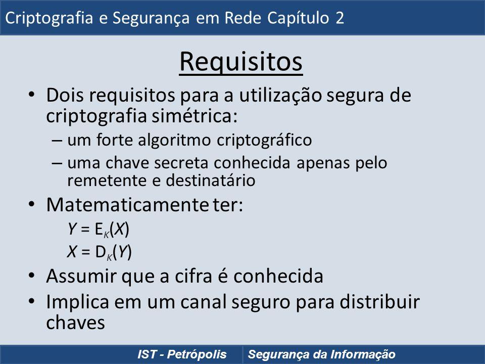 Cifras de Transposição de Fila uma transposição mais complexa escrever letras da mensagem nas linhas, ao longo de um determinado número de colunas em seguida, reordenar as colunas de acordo com uma chave Key: 3 4 2 1 5 6 7 Plaintext: a t t a c k p o s t p o n e d u n t i l t w o a m x y z Ciphertext: TTNAAPTMTSUOAODWCOIXKNLYPETZ Criptografia e Segurança em Rede - Capítulo 2 IST - PetrópolisSegurança da Informação