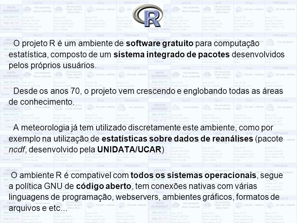 O projeto R é um ambiente de software gratuito para computação estatística, composto de um sistema integrado de pacotes desenvolvidos pelos próprios usuários.