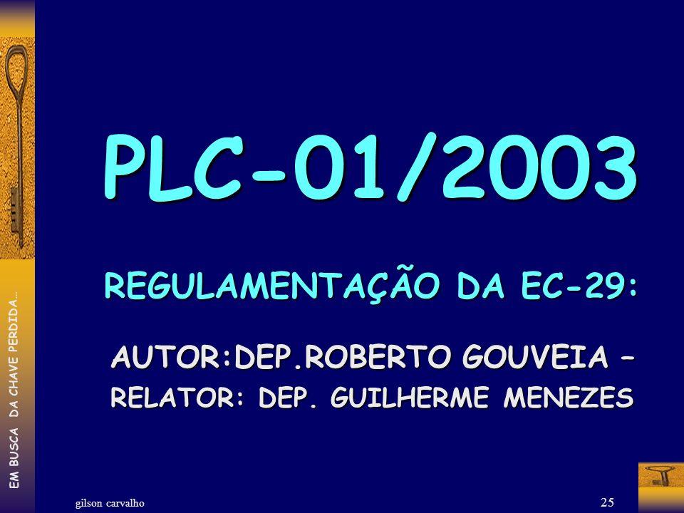 gilson carvalho EM BUSCA DA CHAVE PERDIDA… 25 PLC-01/2003 REGULAMENTAÇÃO DA EC-29: AUTOR:DEP.ROBERTO GOUVEIA – RELATOR: DEP. GUILHERME MENEZES