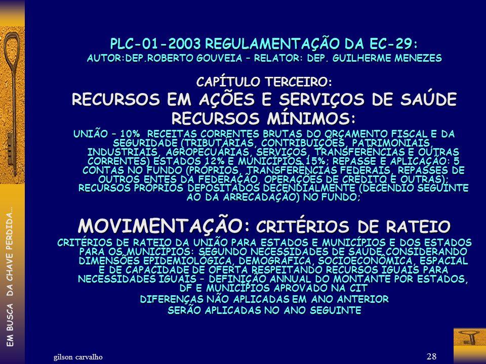 gilson carvalho EM BUSCA DA CHAVE PERDIDA… 28 PLC-01-2003 REGULAMENTAÇÃO DA EC-29: AUTOR:DEP.ROBERTO GOUVEIA – RELATOR: DEP. GUILHERME MENEZES CAPÍTUL
