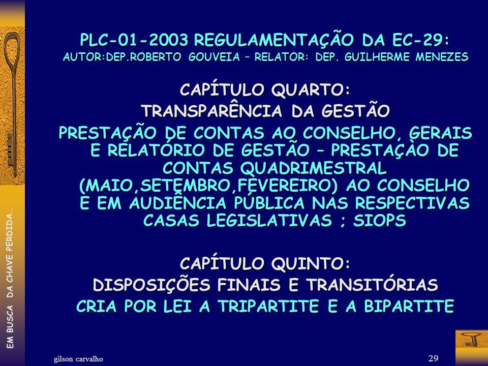 gilson carvalho EM BUSCA DA CHAVE PERDIDA… 29 PLC-01-2003 REGULAMENTAÇÃO DA EC-29: AUTOR:DEP.ROBERTO GOUVEIA – RELATOR: DEP. GUILHERME MENEZES CAPÍTUL