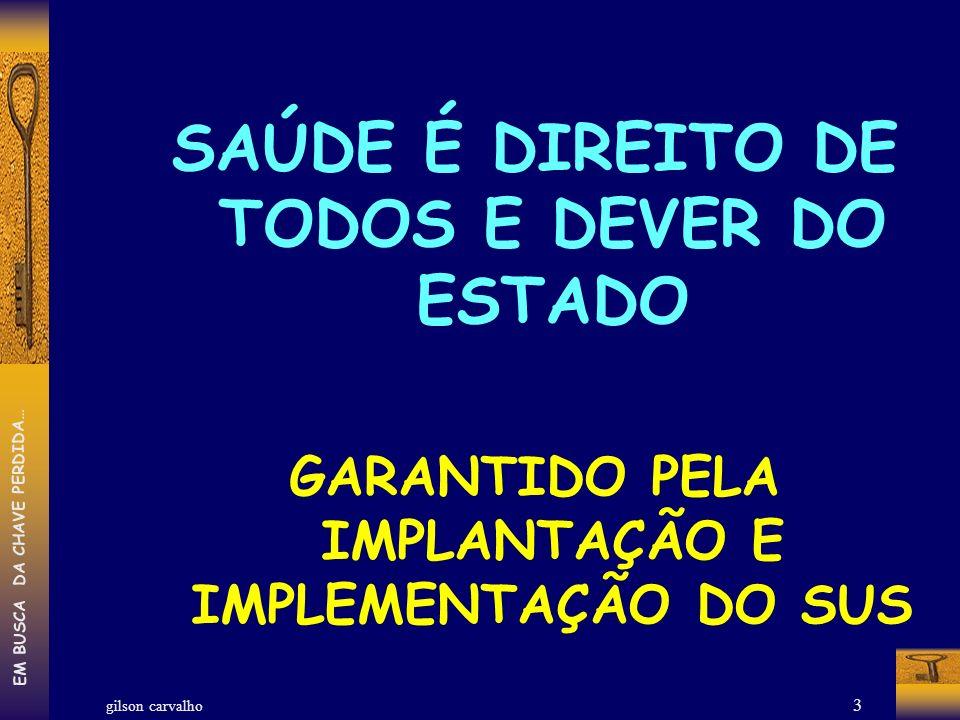 gilson carvalho EM BUSCA DA CHAVE PERDIDA… 4 PARA ACONTECER O DIREITO À SAÚDE E IMPLANTAR E IMPLEMENTAR O SUS É ESSENCIAL FINANCIAMENTO FINANCIAMENTO SANITÁRIO (DA SAÚDE) DEVE SER SOLIDÁRIO ENTRE AS TRES ESFERAS DE GOVERNO UNIÃO ESTADOS MUNICÍPIOS