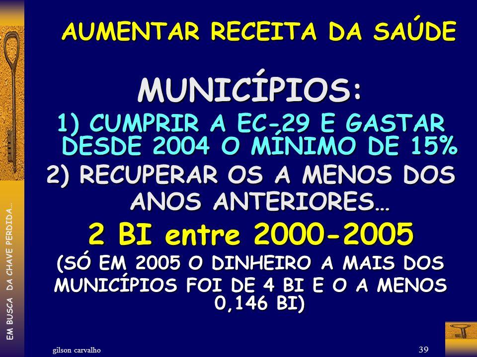 gilson carvalho EM BUSCA DA CHAVE PERDIDA… 39 AUMENTAR RECEITA DA SAÚDE AUMENTAR RECEITA DA SAÚDEMUNICÍPIOS: 1) CUMPRIR A EC-29 E GASTAR DESDE 2004 O