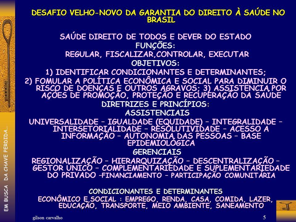gilson carvalho EM BUSCA DA CHAVE PERDIDA… 5 DESAFIO VELHO-NOVO DA GARANTIA DO DIREITO À SAÚDE NO BRASIL DESAFIO VELHO-NOVO DA GARANTIA DO DIREITO À S