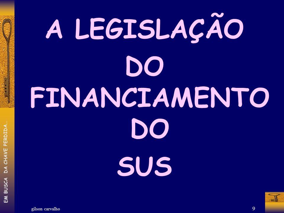 gilson carvalho EM BUSCA DA CHAVE PERDIDA… 9 A LEGISLAÇÃO DO FINANCIAMENTO DO SUS