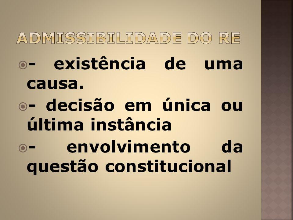 - existência de uma causa. - decisão em única ou última instância - envolvimento da questão constitucional
